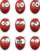 stock photo of blubber  - a set of nine cartoon red egg faces - JPG