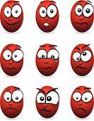 image of blubber  - a set of nine cartoon red egg faces - JPG