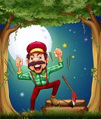 Illustration of a very cheerful lumberjack at the forest