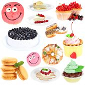 picture of sugarpaste  - Sweet desserts isolated on white - JPG