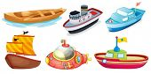 Illustration of the different boat designs on a white background