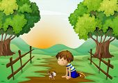 Illustration of a young boy and his pet in the middle of the street