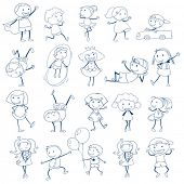 stock photo of playmates  - Illustration of the sketch of kids playing on a white background - JPG