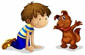 Illustration of a boy and his brown pet on a white background