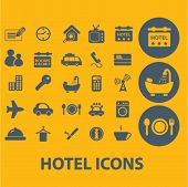 hotel icons, buttons, symbols, buttons isolated set, vector on background