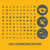 100 communication, connection, network, social media icons, buttons, symbols isolated set, vector on