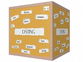 Dating 3D Cube Corkboard Word Concept