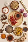 picture of rajasthani  - Food Ingredients which is commonly used in rajasthani cuisines like onion, red chilly, ginger, turmeric, tamarind, garlic, white pepper corn, jeera, cinnamon sticks, turmeric powder, pepper, cloves.