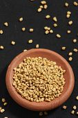 foto of fenugreek  - Fenugreek seeds or Fenugreek is Kasuri Methiis frequently used in the preparation of pickles curry powders and pastes and is often encountered in the cuisine of the Indian subcontinent - JPG