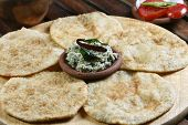 picture of urad  - Front View of Urad dal puri indian flatbread - JPG