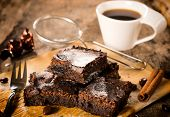 image of brownie  - Selective focus in the middle of front brownies cookies - JPG