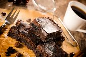 picture of brownie  - Chocolate brownies and black coffee - JPG