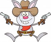 Cowboy Gray Rabbit Character Holding Up Two Revolvers