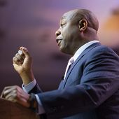 NATIONAL HARBOR, MD - MARCH 6, 2014: Senator Tim Scott (R-SC) speaks at the Conservative Political A