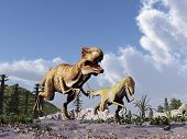 foto of tyrannosaurus  - Tyrannosaurus rex chasing a velociraptor in a Cretaceous landscape - JPG