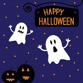 picture of funny ghost  - Two funny Halloween ghosts and pumpkins - JPG