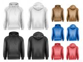 foto of hoodie  - Set of different colored male hoodies - JPG