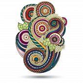 stock photo of mehndi  - Henna Paisley Mehndi Doodles Abstract Floral Vector Illustration Design Element - JPG