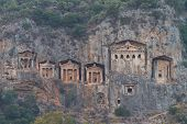 picture of dalyan  - Kaunian rock tombs in Dalyan Ortaca Turkey - JPG