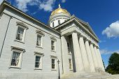 image of greek-architecture  - Vermont State House, Montpelier, Vermont, USA.  Vermont State House is Greek Revival style built in 1859. - JPG