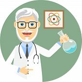 picture of biomedical  - Elderly doctor or pharmacist wearing a lab coat and stethoscope and brandishing a flask with a chemical solution doing chemical experiments and biomedical research  vector illustration - JPG