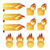 foto of flames  - Set of gold price and sale icons with flames of fire in ribbon banners  round and square format with burning flames suitable for retail   stores and shopping  vector design elements with shadow - JPG