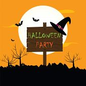 foto of wolf moon  - Halloween party vector background with moon bats hat spooky tree pumpkins - JPG