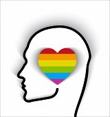 picture of transgendered  - Head Contour With Heart Gay Flag  - JPG