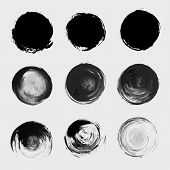 picture of paint spray  - Grunge paint circle vector element set - JPG
