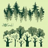 pic of coniferous forest  - Abstract banners of green deciduous  forest and coniferous forest - JPG