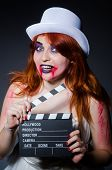 pic of satanic  - Satan halloween concept with movie clapper board - JPG
