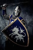 picture of knights  - Medieval knight against stone wall - JPG