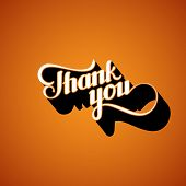 picture of thankful  - vector typographic illustration of handwritten Thank You retro label - JPG