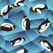 stock photo of ice crystal  - penguin pattern abstract blue crystal ice background with penguin - JPG