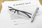 picture of contract  - contract business papers pen glasses business case - JPG