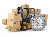 image of stopwatch  - Forklift truck with  boxes and stopwatch  - JPG