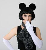 picture of fancy mouse  - portrait of woman in fancy dress on grey background - JPG