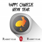 pic of rabbit year  - an isolated round label with a rabbit and text for chinese new year - JPG