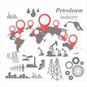 stock photo of petroleum  - Petroleum industry vintage illustration vector design icon set - JPG