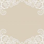picture of lace  - White flower frame - JPG