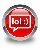 image of lol  - LOL bubble icon glossy red round button - JPG
