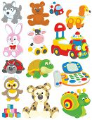 foto of toy phone  - Set of funny vector toys on a white background - JPG