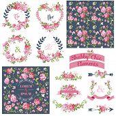 image of ribbon  - Vintage Floral Set  - JPG
