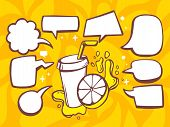 Постер, плакат: Illustration Of Fresh Fruit Juice With Speech Comics Bubbles On Orange Pattern Background