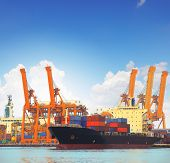 stock photo of export  - commercial ship and cargo container on port use for import export and freight logistic water transport industry - JPG