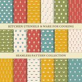 stock photo of kitchen utensils  - Collection of seamless backgrounds of kitchen utensils in retro style - JPG