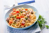 foto of spaghetti  - spaghetti with tuna capers and  tomatoes - JPG