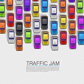 foto of truck-stop  - Traffic jam on the road - JPG
