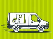 picture of moving van  - illustration of van free and fast delivering bag and money purse to customer on green pattern background - JPG