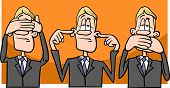 picture of evil  - Cartoon Humor Concept Illustration of See no Evil Hear no Evil Speak no Evil Saying or Proverb - JPG